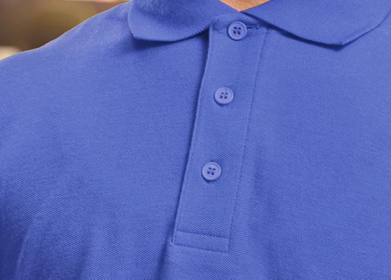 close-up of blue uniform polo shirt